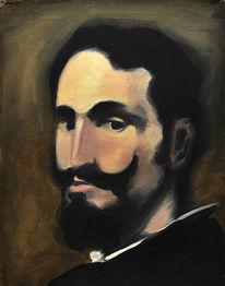 Klassisch, Portrait, Alte schule, Malerei