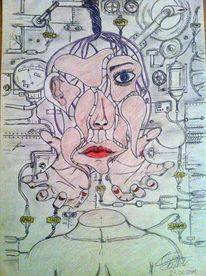 Surreal, Bleistiftzeichnung, Zeichnung, Wesen