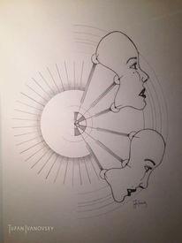 Zeichnung, Ansicht, Bleistiftzeichnung, Gesicht