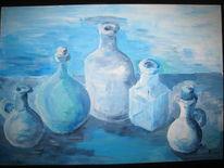 Blau, Acrylmalerei, Flasche, Malerei