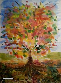 Religion, Aquarellmalerei, Ausdrucksmalerei, Pflanzen
