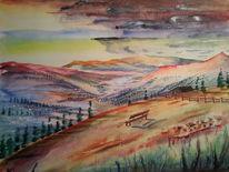 Landschaft, Aquarellmalerei, Berge, Aquarell