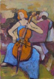 Cellomusik, Garten, Gesicht, Konzert