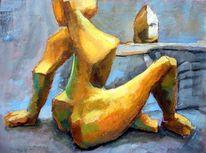 Akt, Acrylmalerei, Skulptur, Frau