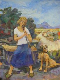 Hund, Vertrauen, Klarinette, Sommer