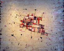 Abstrakt, Vanille, Acrylmalerei, Rot schwarz