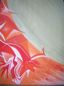 Abstrakt, Farben, Orange, Acrylmalerei