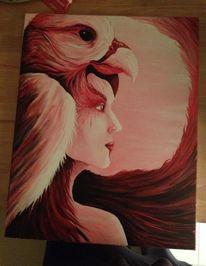 Acrylmalerei, Figural, Rot, Vogel