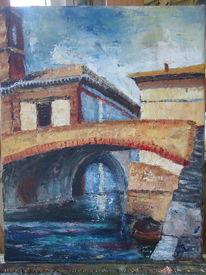 Wasser, Haus, Brücke, Italien
