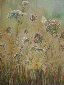 Wiese, Sonne, Schmetterling, Malerei