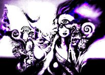 Comic, Schlafend lila, Digitale kunst, Digital art