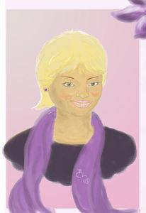Blond, Lila, Frau, Malerei