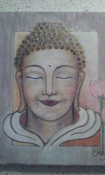 Mischtechnik, Buddha,