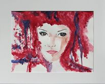 Frau, Handarbeit, Gemälde, Malen
