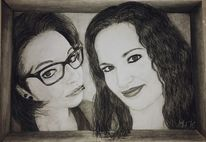 Freundin, Portrait, Rahmen, Brille