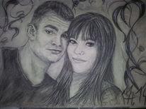 Portrait, Paar, Frau, Glück