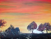 Malerei, Abendstimmung, Afrika