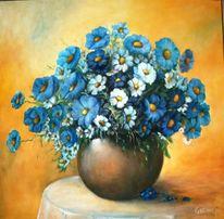 Blumen, Stillleben, Blau, Malerei