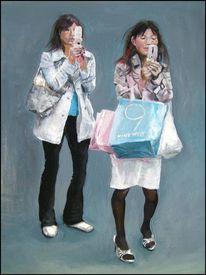 Mobilephone, Handy, Japanerinnen, Fotorealismus