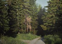 Ölmalerei, Wald, Malerei, Weg