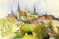 Stadt, Aargau, Aquarell, Altstadt