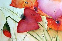 Aquarellmalerei, Blumen, Aquarell, Mohn