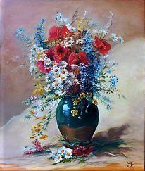 Weiß, Margariten, Rot, Ölmalerei