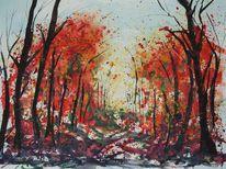 Licht, Herbst, Wald, Aquarell