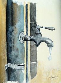 Wasser, Tropfen, Hahn, Aquarell