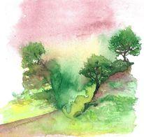 Landschaft, Baum, Fantasie, Aquarell