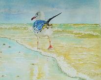 Vogel, Strand, Meer, Aquarell