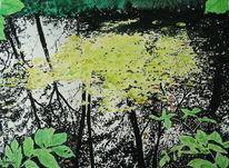 Baum, Teich, Spiegelung, Aquarell