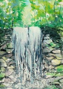 Wald, Wasserfall, Stein, Aquarell