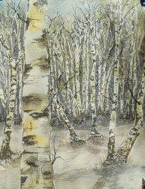 Birken, Schnee, Wald, Aquarell