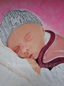 Kinder, Pastellmalerei, Geborgenheit, Liebe