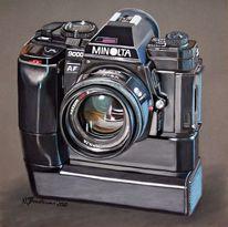 Schwarz, Kamera, Pastellmalerei, Objektiv