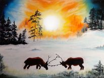 Winter, Wald, Sonne, Hirsch