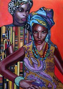 Glas, Afrika, Frau, Rot
