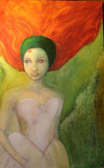 Frau, Haare, Rot, Mischtechnik