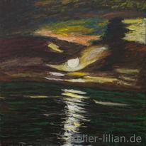 Abend, Meer, Wolken, Mond