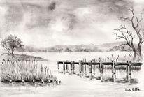 Brücke, Zeichnung, Bleistiftzeichnung, Aquarellmalerei