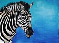 Zebra, Malerei, Blau