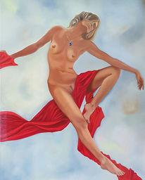 Akt, Frau, Gemälde, Malerei