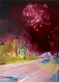 Nacht, Ölmalerei, Leuchten, Spaziergang durch recklinghausen