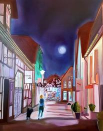 Frau, Spaziergang durch recklinghausen, Kasyanov, Nacht