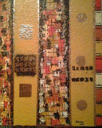 Acrylmalerei, Pigmente, Gold, Strukturpaste fein
