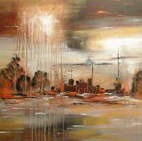 Abstrakt, Gewitter, Landschaft, Malerei