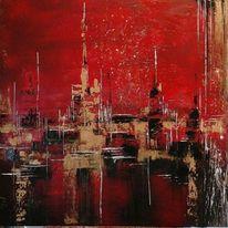 Skyline, Fantasie, Stadt, Malerei