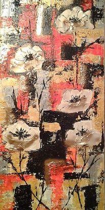 Blumen, Efektpaste goldsatin, Acrylmalerei, Abstrakt