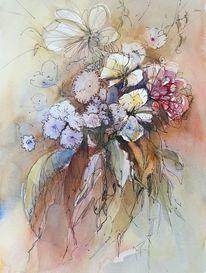 Blüte, Strauß, Blumen, Aquarell